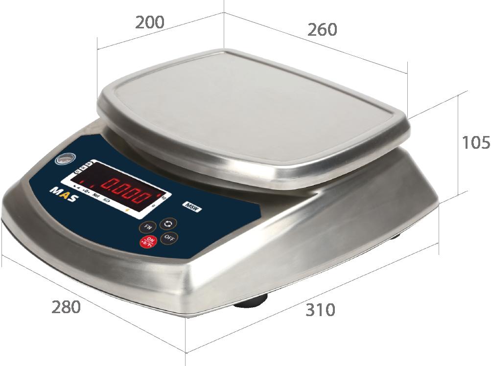 Порционные влагозащищенные весы MAS MSW-3, 6, 15, 30